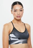Reebok - Myt all over print tric back bra - black