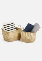 H&S - Detailed basket set of 2 with handles - natural