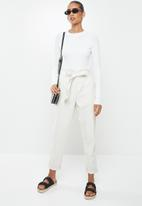 Factorie - Variegated rib knit long sleeve top - white