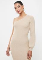 Glamorous - One shoulder midi knit dress - neutral