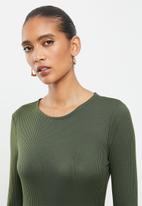 VELVET - Rib column midi dress with open back - olive