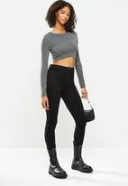 Blake - Soft touch wrap crop top - charcoal