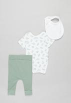 Superbalist Kids - Baby boys bodysuit, leggings & bib set - green & white
