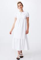 Cotton On - Woven nori babydoll wide collar medaxi dress - white