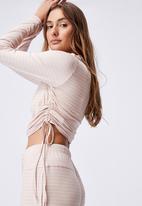 Cotton On - Sleep recovery side tie long sleeve top - mushroom pinstripe