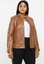 Violeta by Mango - Plus Leather Jacket chelasea - medium brown