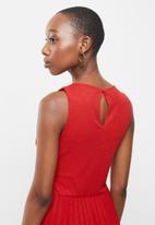 MANGO - Pleated midi dress - red