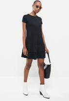 MANGO - Short ruffled dress - black
