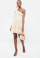 MANGO - Asymmetrical ruffle dress - off white