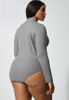 Superbalist - 2 Pack funnel neck bodysuit - black & grey