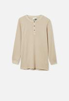 Free by Cotton On - Free long sleeve waffle tee - beige