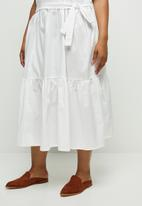 edit Plus - Tiered belted combo dress - cream