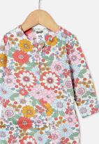 Cotton On - The long sleeve zip romper - vanilla/cali pink retro floral