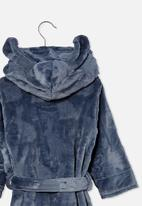 Cotton On - Boys hooded long sleeve gown - steel