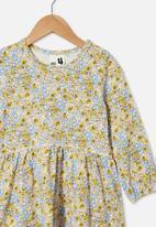 Cotton On - Savannah long sleeve dress - yellow & blue