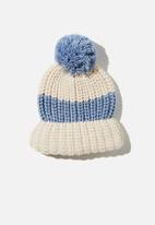 Rubi - Chunky knit pom pom beanie - neutral & blue