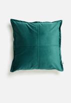 Sixth Floor - Cross velvet cushion cover  - teal green