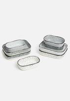 Excellent Housewares - Granite tapas dish set of 4 - multi