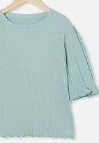 Free by Cotton On - Veronica rib trumpet sleeve top - duck egg