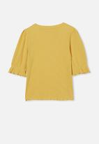 Free by Cotton On - Veronica rib trumpet sleeve top - honey gold