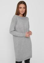 ONLY - Amalia long sleeve dress knit - light grey
