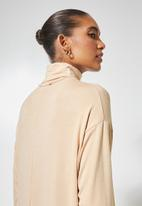 Superbalist - Dropped shoulder poloneck dress - stone