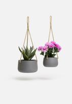 H&S - Ceramic flower pot set - grey