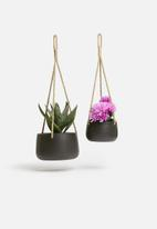 H&S - Ceramic flower pot set - black