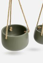 H&S - Ceramic flower pot set - green