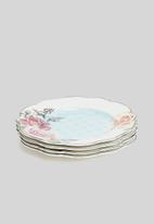 Jenna Clifford - Wavy rose dinner plate set of 4 - white