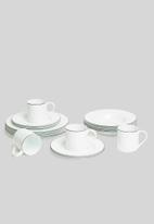 Jenna Clifford - Porcelain dinner plate black band set of 4 - white