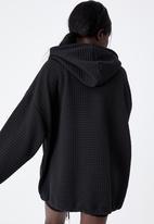 Factorie - Super oversized waffle hoodie - black