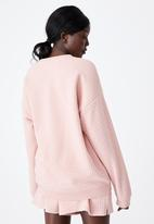 Factorie - Waffle oversized graphic crew - silver pink