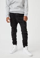 Factorie - Moto denim cuffed jean - black