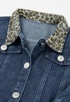 POP CANDY - Girls animal collar denim jacket - blue