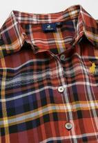 POLO - Girls madison checked longer length blouse - multi