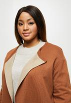edit Plus - Two tone knitwear cardi - brown