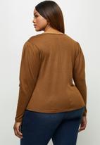 edit Plus - Round neck mutton sleeve tee - rust