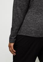 edit Plus - Round neck mutton sleeve tee - black & grey