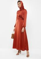MILLA - Satin wrap front maxi dress with headscarf - red