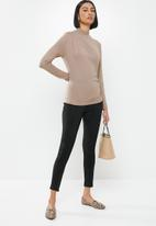 MILLA - Brushed knit turtleneck top with drape - stone