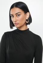 MILLA - Brushed knit turtleneck top with drape - black