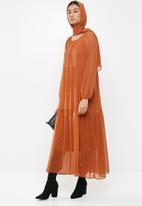MILLA - Chiffon tiered dress maxi & head scarf - rust