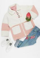 POP CANDY - Girls faux shearling jacket - cream & pink