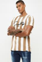 Cutty - Tshirt basic logo - brown & white