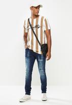 Cutty - Denim jean rip and repair knit - blue