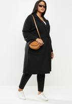 Me&B - Plus knit melton lounge coat - black