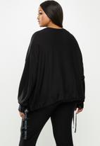 Me&B - Plus drawstring fleece sweat - black