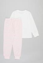 POP CANDY - Girls stripe pants & tee pj set - pink & white