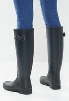 Hunter - Refined texture block boot tall - black & navy